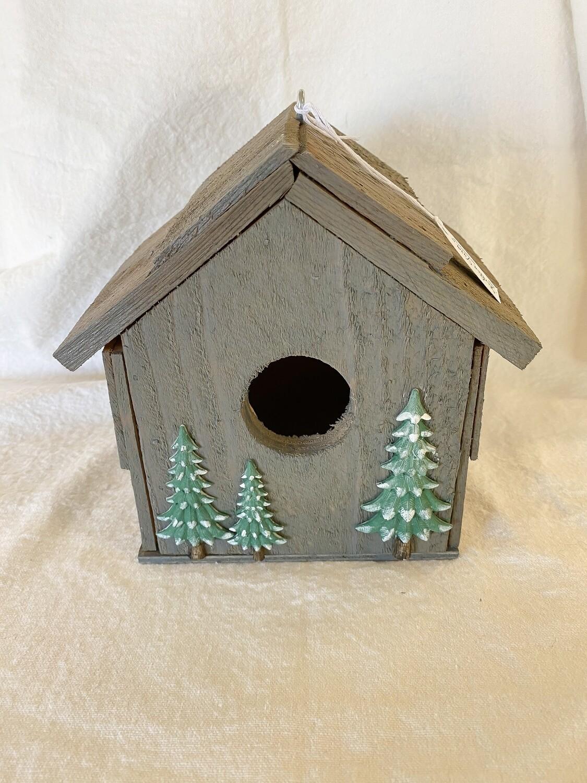 Handmade Wood Birdhouse - Snowy Trees