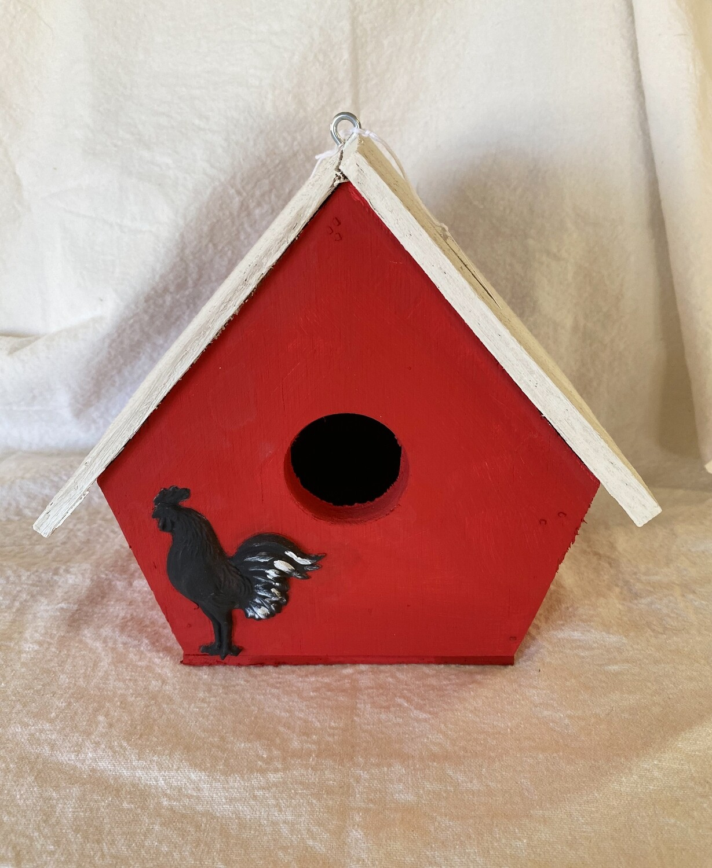 Handmade Wood Birdhouse - Rooster