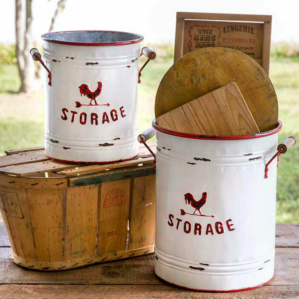 Metal White & Red Storage Tins with Handles