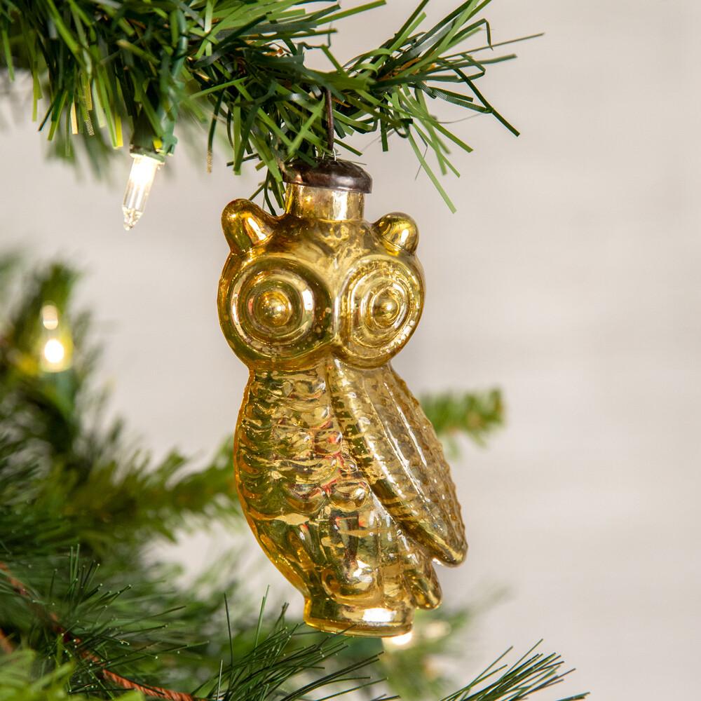 Gold Owl Glass Ornament