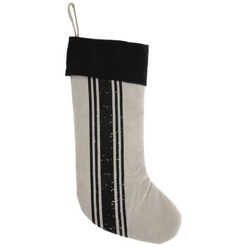 Beige & Black Ticking Striped Christmas Stocking