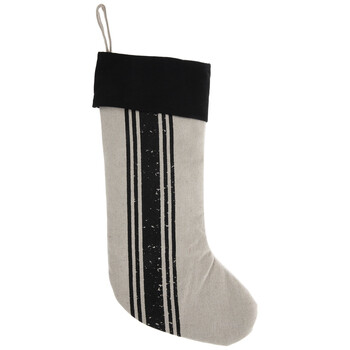 Beige & Black Ticking Striped Christmas Stocking
