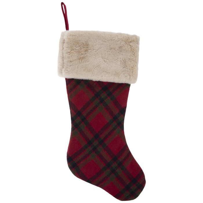 Plaid Christmas Stocking With Faux Fur Cuff
