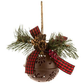 Metal Bell Ornament - Peace or Noel