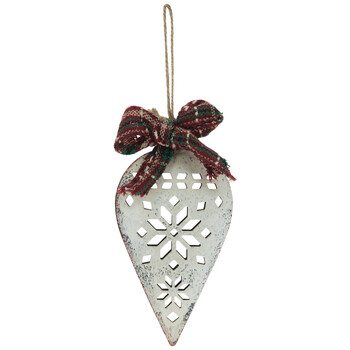 Cream Snowflake Metal Cut-Out Ornament