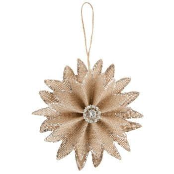 Sparkling Burlap Flower Ornament