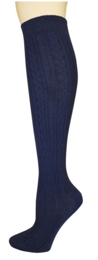 Women's Navy Cable Knit Knee High Socks
