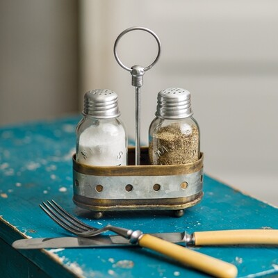 Mason Salt and Pepper Shakers with Caddy