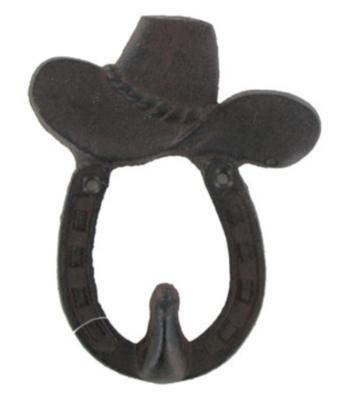 Cowboy Hat & Horseshoe Cast Iron Wall Hook
