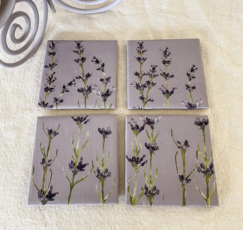 Lavender Ceramic 4 Coaster Set