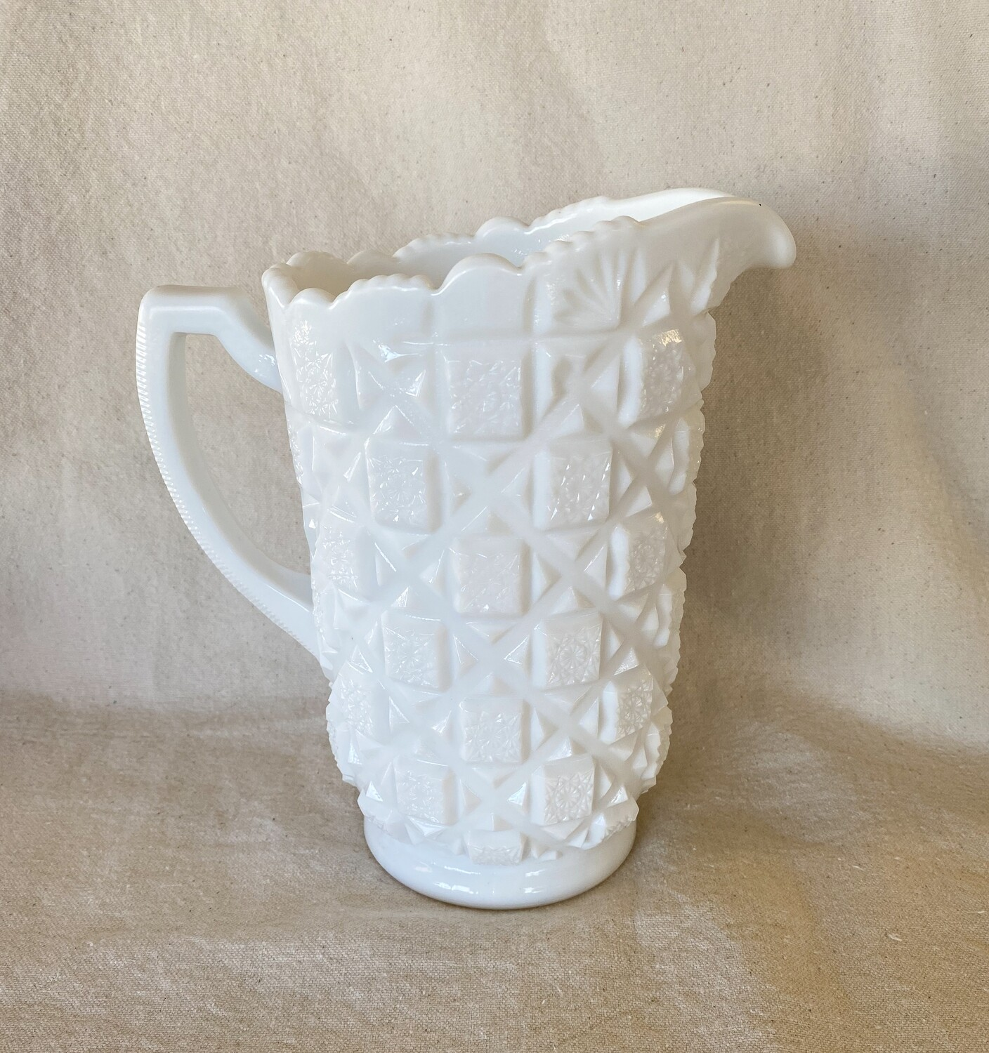 Westmoreland Old Quilt Milk Glass Pitcher
