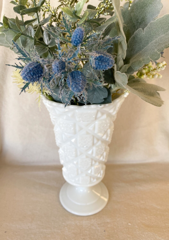 Westmoreland Old Quilt Milk Glass Vase