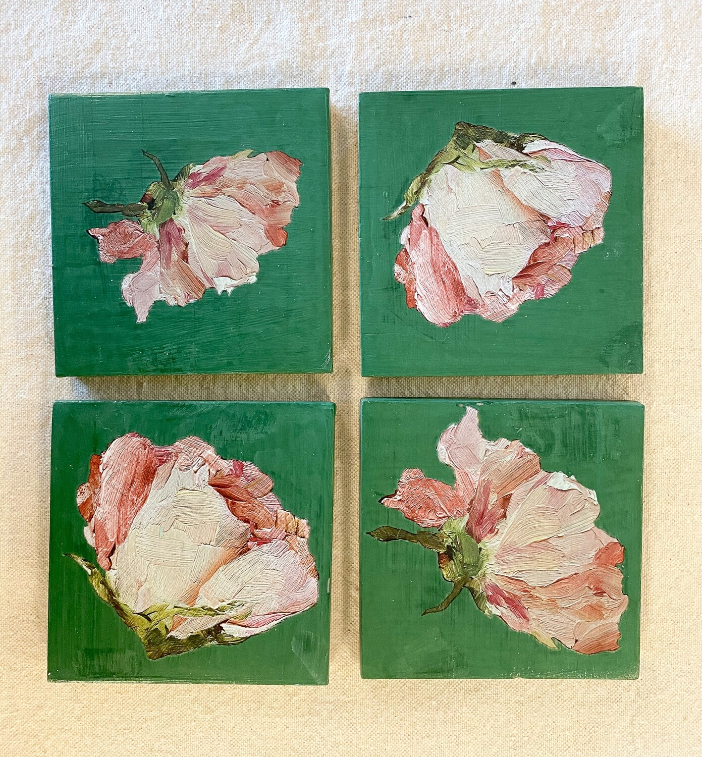 Green Floral Ceramic 4 Coaster Set
