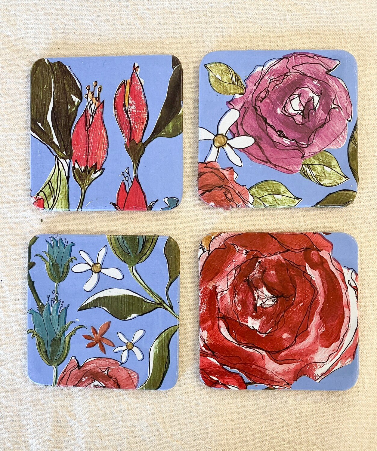 Colorful Florals 4 Coaster Set