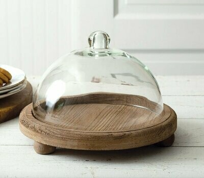 Cloche with Wood Base
