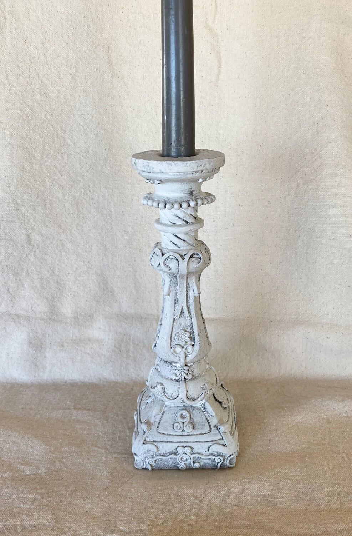 White Antiqued Ceramic Candlestick