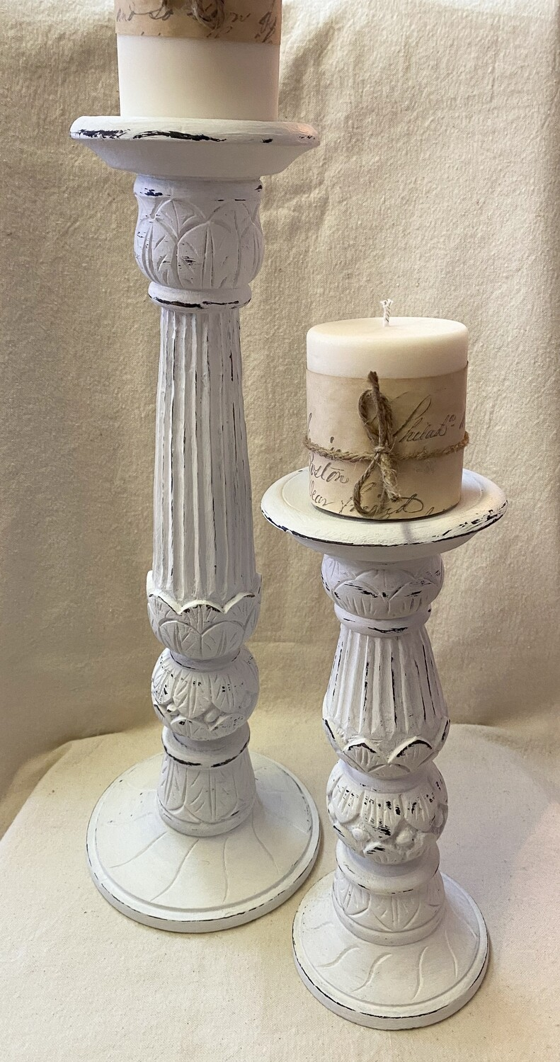 White Distressed Wood Candlestick Pair