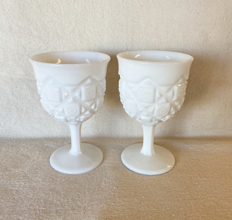Westmoreland Old Quilt Milk Glass Goblet Pair