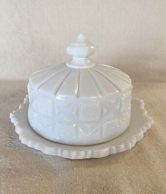 Westmoreland Old Quilt Milk Glass Cheese Dish & Lid