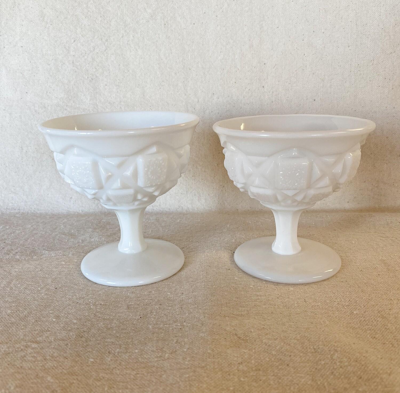 Westmoreland Old Quilt Milk Glass Low Sherbet Pair