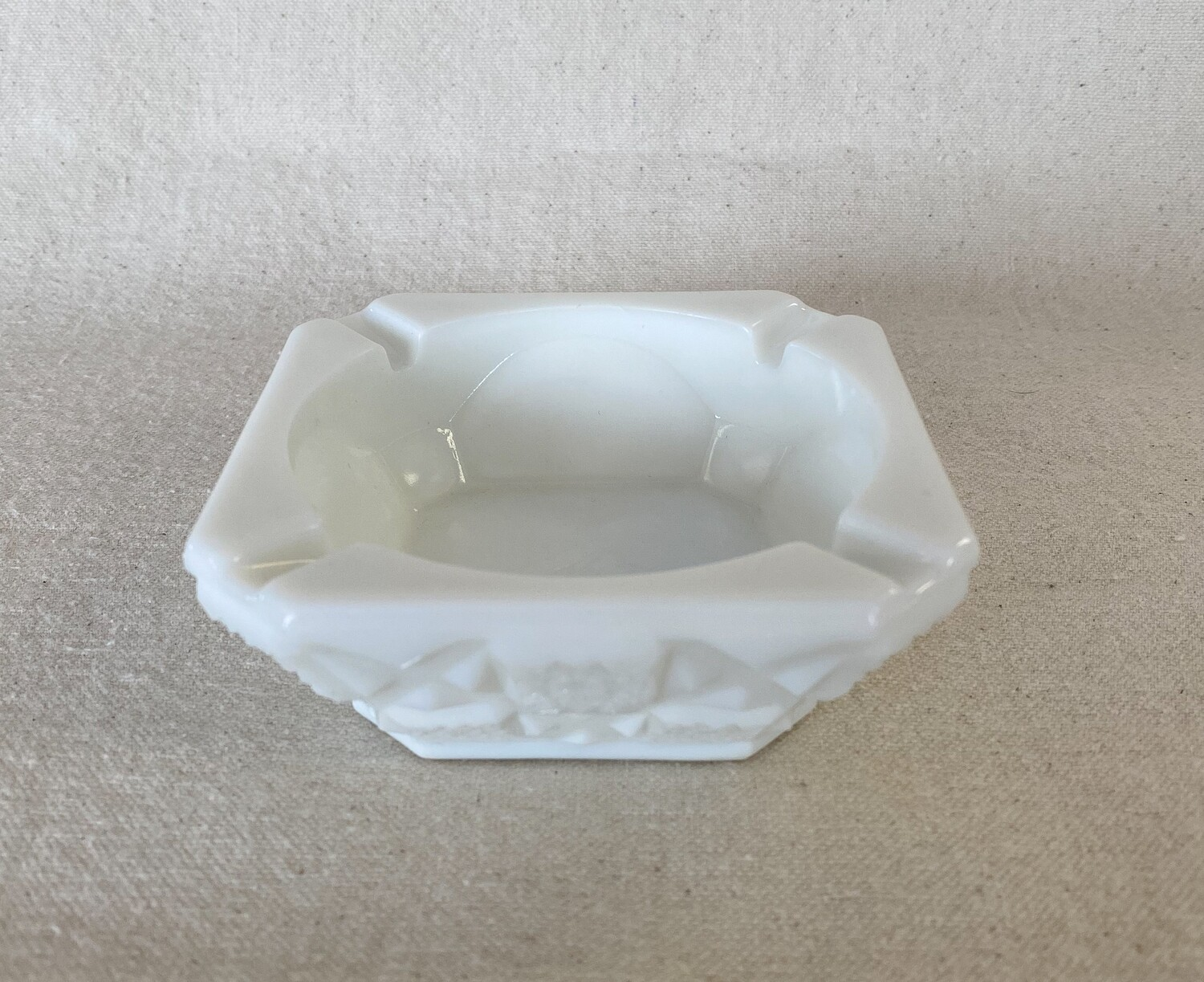 Westmoreland Old Quilt Milk Glass Small Square Ashtray