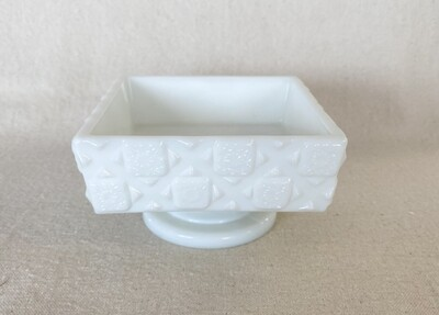 Westmoreland Old Quilt Milk Glass Compote