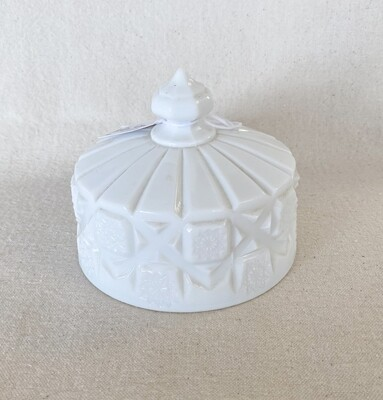 Westmoreland Old Quilt Milk Glass Cheese Dish Lid
