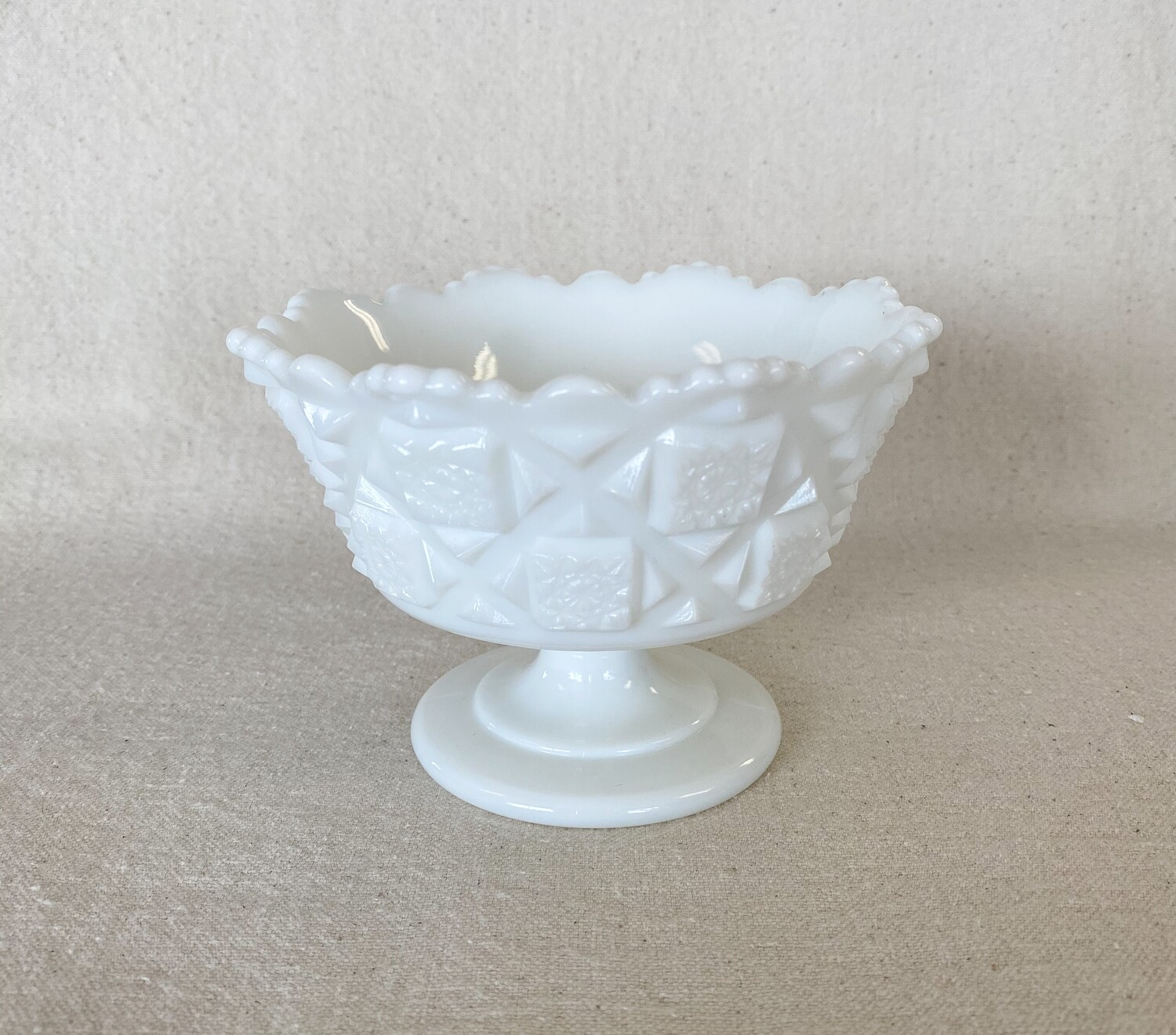 Westmoreland Old Quilt Milk Glass Footed Mayonnaise Bowl