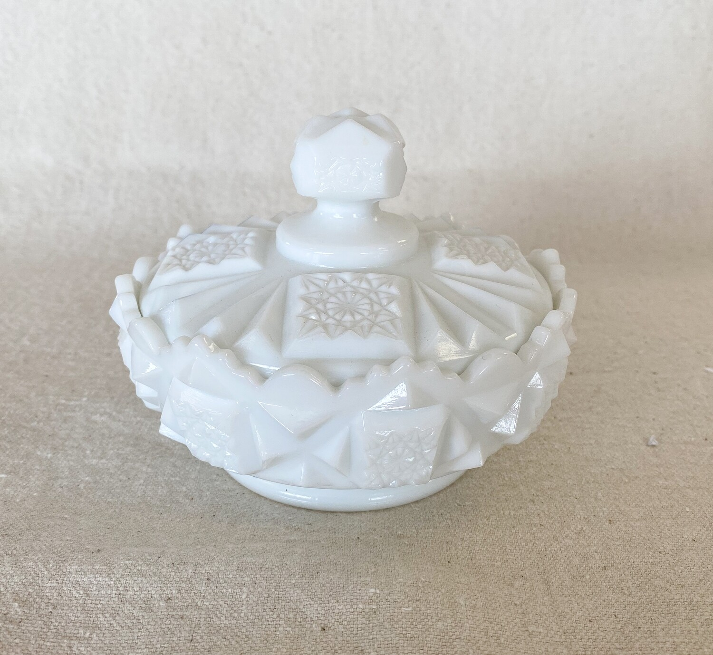 Westmoreland Old Quilt Milk Glass Powder Jar & Lid