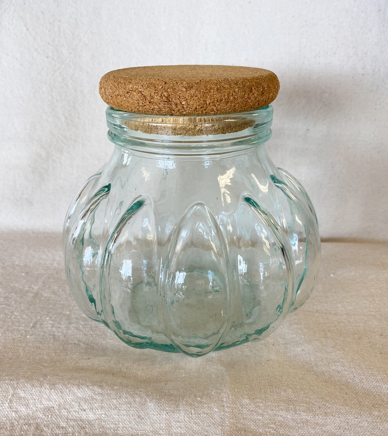 Green Glass Pumpkin Apothecary Jar with Cork Lid
