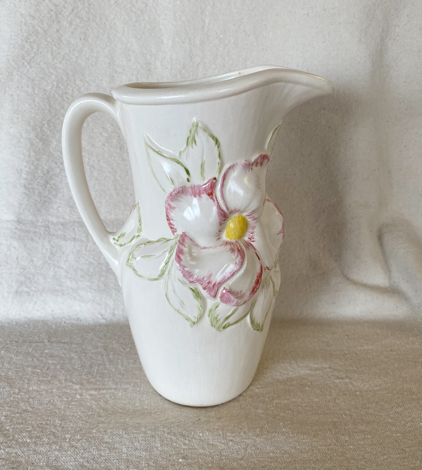 Holland Mold Pottery Pitcher Floral Pattern