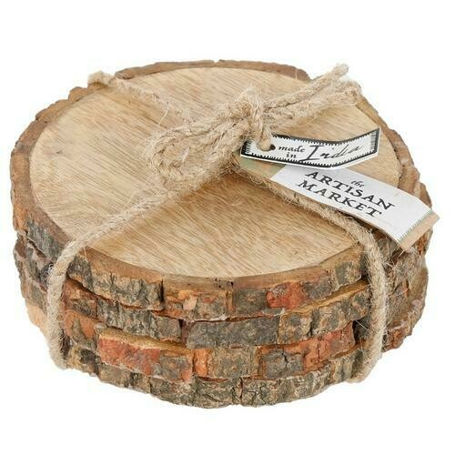 Round Wood Coaster Set of 4