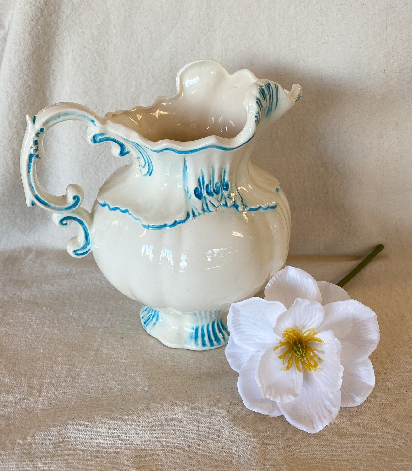 Teal & Cream Ceramic Pitcher