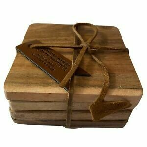 Natural Wood Coaster Set of 4