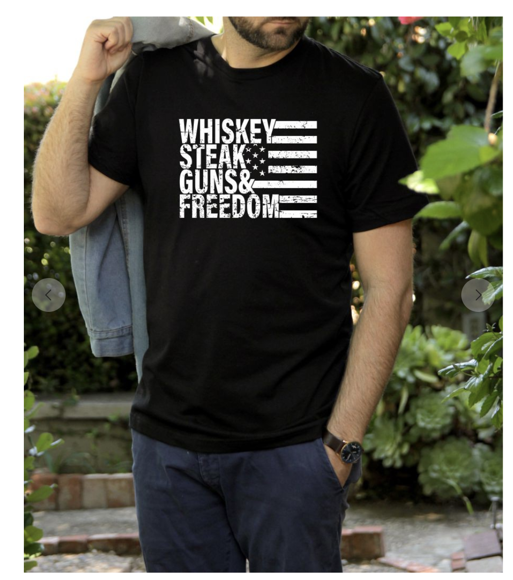 Black Whiskey Steak Guns & Freedom T-Shirt