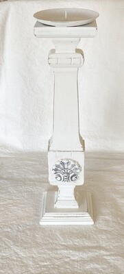 White Distressed Wood Candlestick