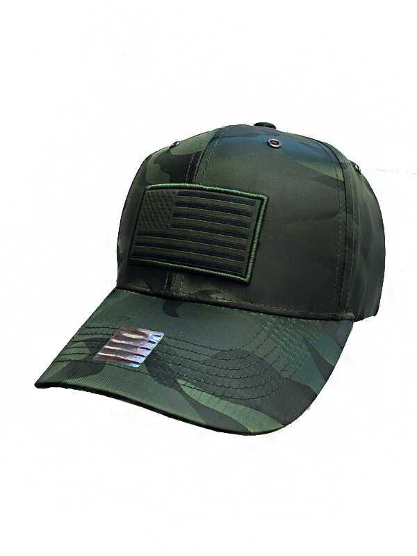 Green Camo Flag Patch Snapback Cap