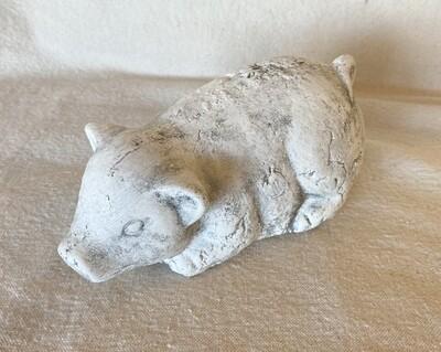 Plaster Cast Pig Figurine