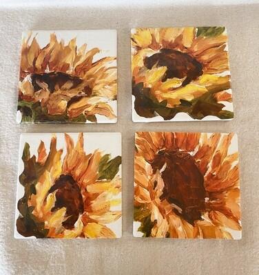 Sunflower Ceramic 4 Coaster Set