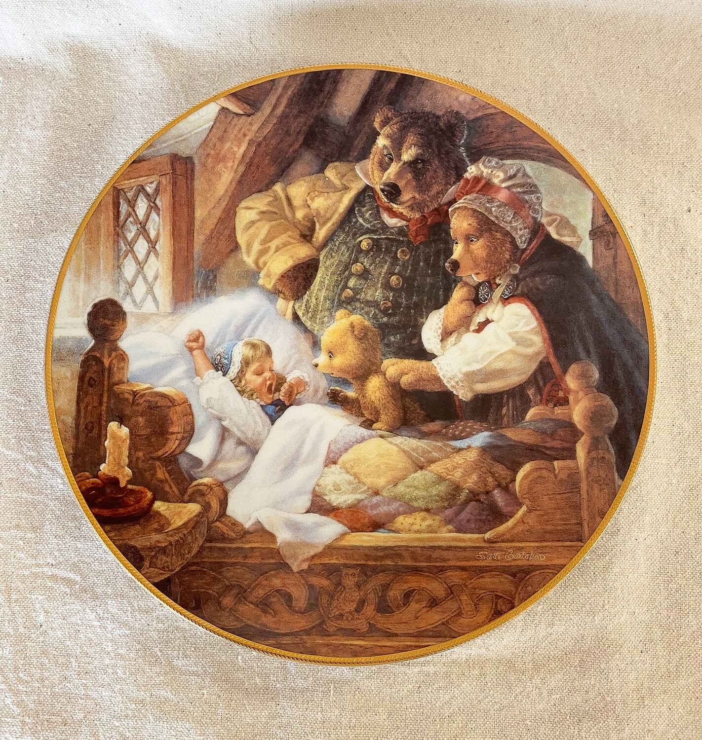 Knowles Scott Gustafson Porcelain Plate - Goldilocks and The Three Bears