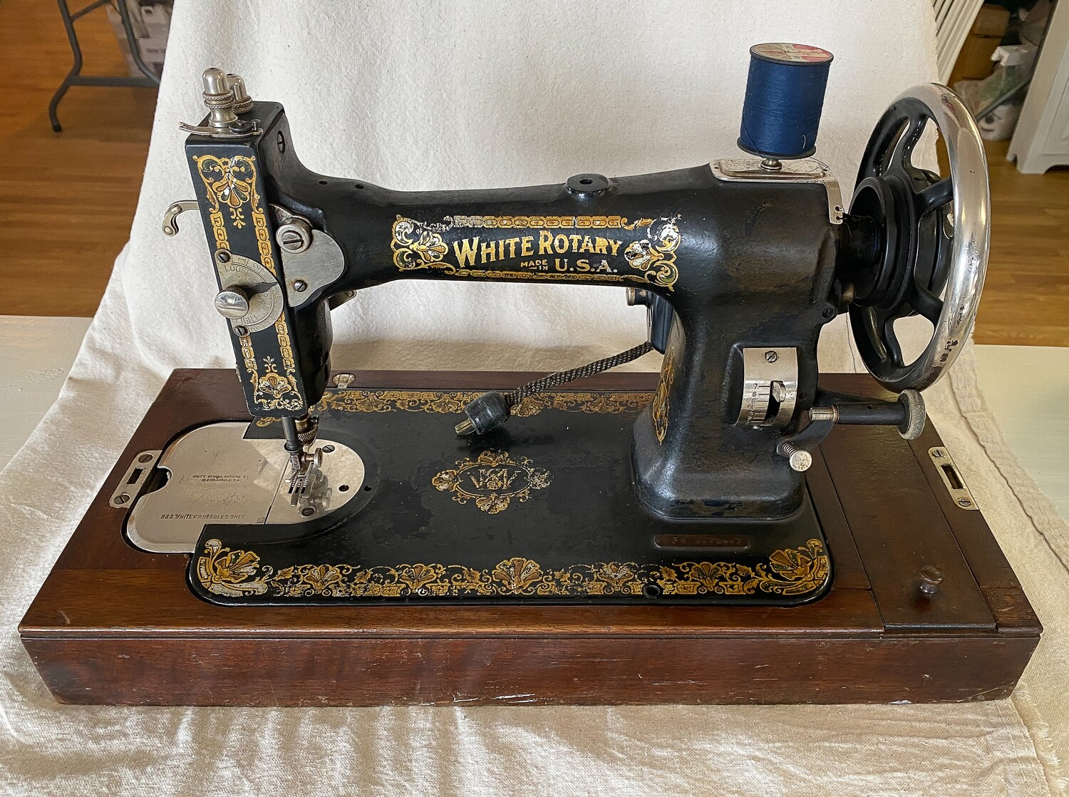 Antique White Rotary Sewing Machine in Wood Case
