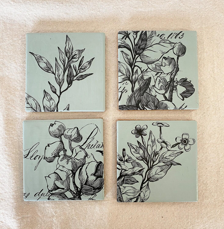 Green Floral Ceramic 4 Coaster Set