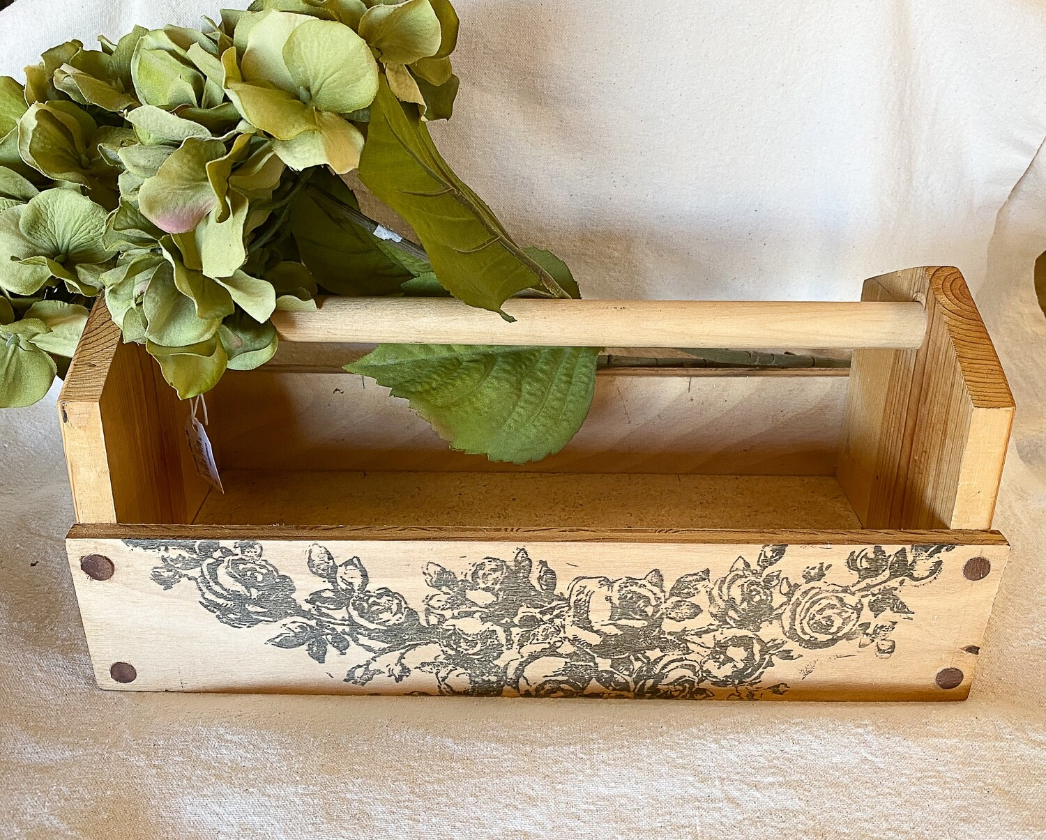 Wood Floral Garden Handled Tote