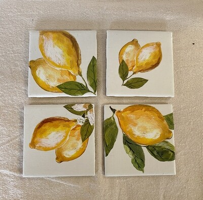 Lemon Ceramic 4 Coaster Set