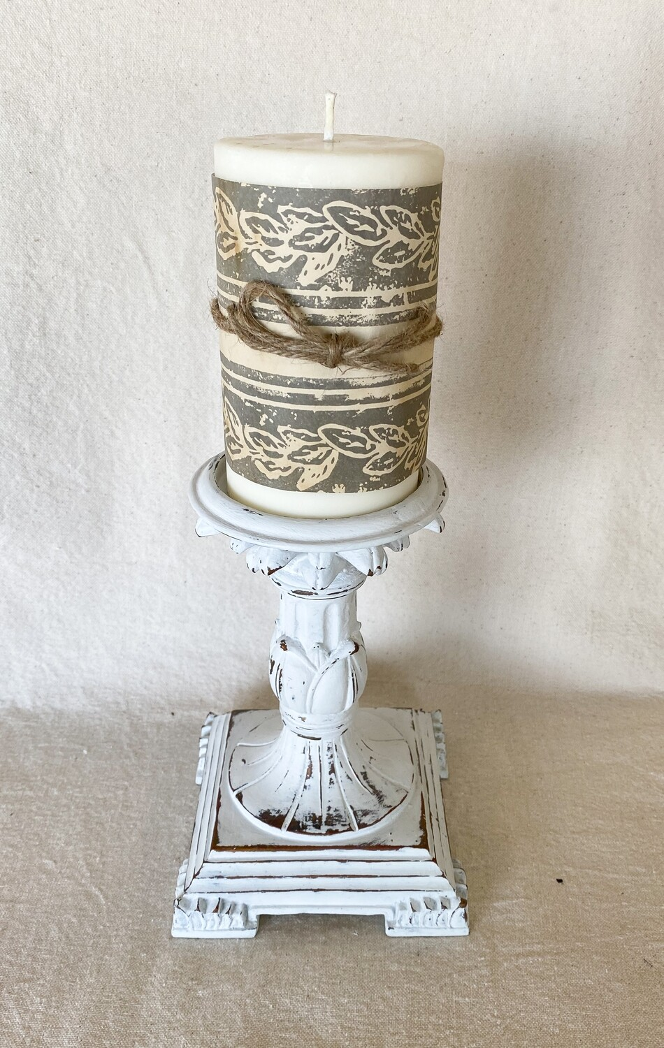White Distressed Candlestick