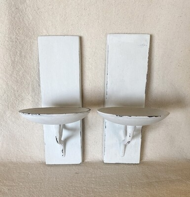 White Distressed Candle Wall Sconce Pair