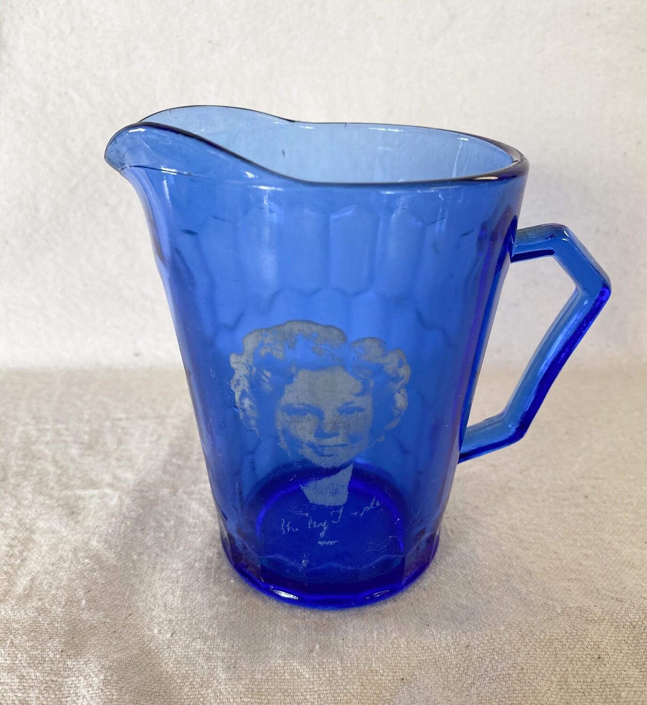 Shirley Temple Cobalt Blue Glass Pitcher