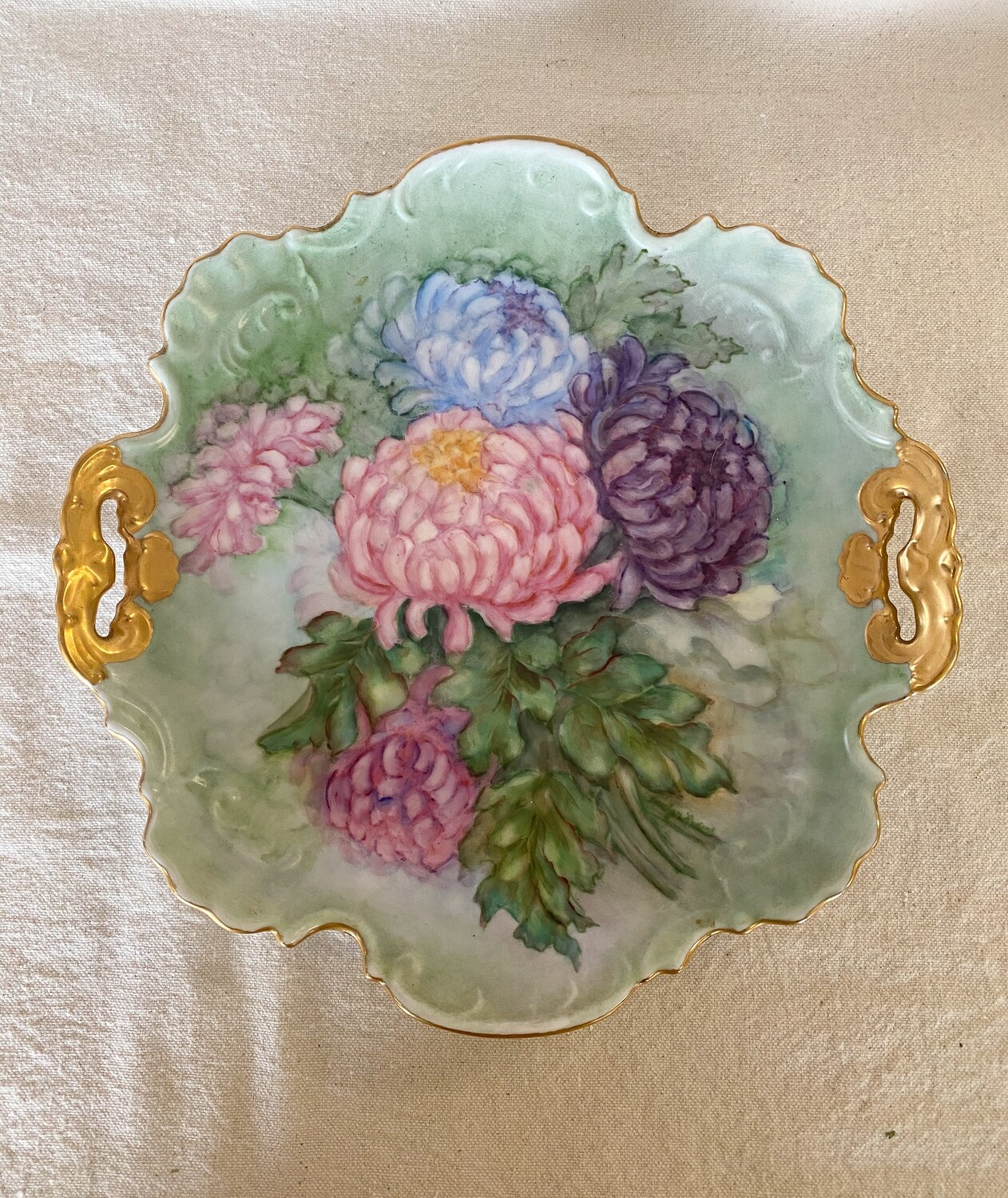 Hand Painted Chrysanthemum Floral Plate with Gold Rim
