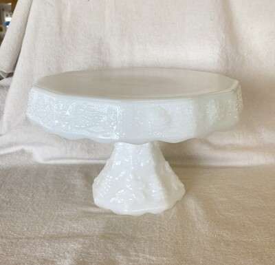 IMPERIAL MILK GLASS CAKE PLATE GRAPE PATTERN