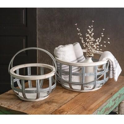 Wood and Metal Storage Basket with Handles
